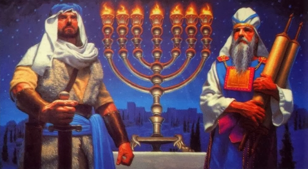Judah Maccabee — the Hammer — moves to rededicate the temple and rekindle the temple menorah.