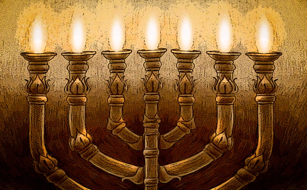 The Temple Menorah, drawing by Ron Cantrell