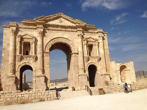 Entrance gate to the Roman Ruins at Jerash, Jordan