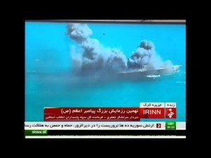 Iran blows up a mock US naval ship