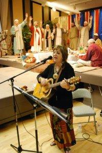 Carol leading worship