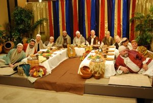 Yeshua with the disciples around the table